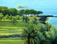Painting by Curtis Wilson Cost: Old Makena Panorama