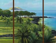 Painting by Curtis Wilson Cost: Old Makena Triptych