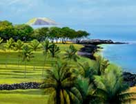 Painting by Curtis Wilson Cost: Old Makena (Uncut)