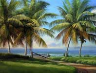 Painting by Curtis Wilson Cost: Return to Makena Panorama