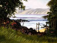 Painting by Curtis Wilson Cost: View of Molokai from a Secret Spot